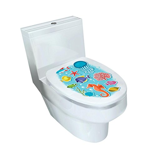 Compia 32 x 39CM Cartoon Removable Mixed Designs Cover Sticker Toilet Stool Commode Stickers with Safety and Health PVC Material - From Weed The 80s