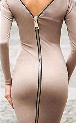 Fente Latérale Confortables Pour Femmes Dos Ouvert Robe De Crayon De La Hanche Paquet Solide Fermeture À Glissière Kaki
