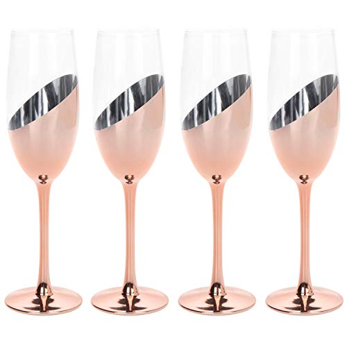 MyGift Modern Champagne Flute Glasses in Rose Gold, Set of 4