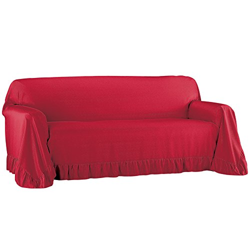 Place Furniture Collection - Collections Etc Ruffled Throw Furniture Protector Cover, Easy Fit Tuck in Place, Burgundy, Sofa