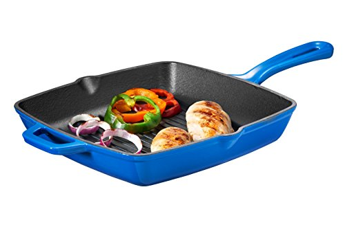 Bruntmor Enameled Cast Iron Square Grill Pan, 10-Inch, Cobalt Blue