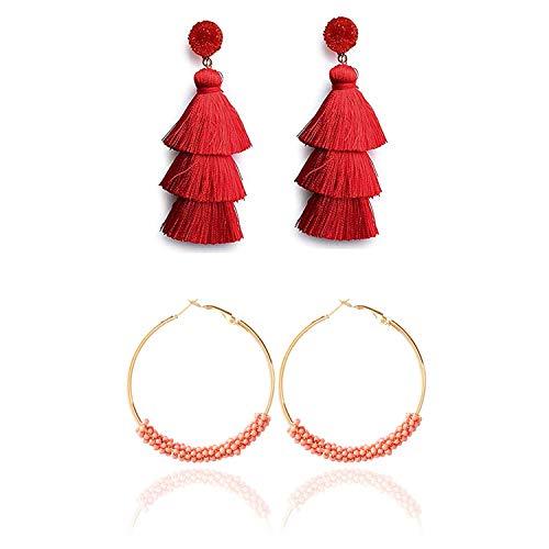 - Dcfywl731 Bohemian Circle Colorful Beaded Earrings Layered Tassel Earrings Bohemian Dangle Drop Earrings for Women Girls (Red Tassel)
