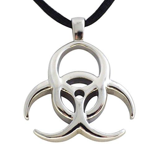 [Men's Stainless Steel Biohazard Quarantine Zombie Pendant Necklace] (Zombie Quarantine)