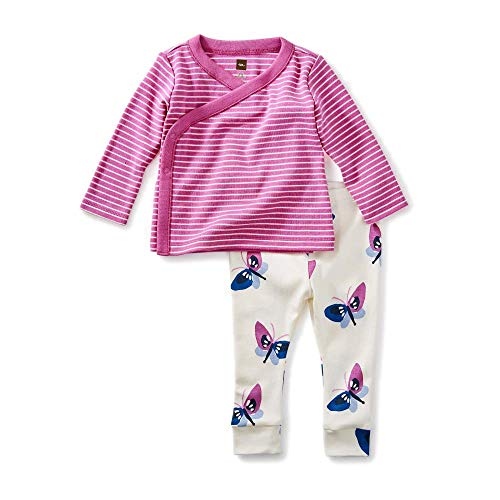 (Tea Collection Wrap Top Baby Outfit, Pale Plum (Plum/White Stripe Top, White Pants with Butterflies) (0-3 Months))