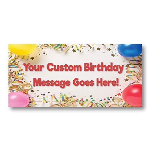 HALF PRICE BANNERS | Custom | Birthday Party Vinyl Banner | Indoor/Outdoor | 2'x4' Balloons | Free Bungees & Zip Ties | Easy Hang Party Sign | Birthday Decorations | Various Sizes | Made in the USA