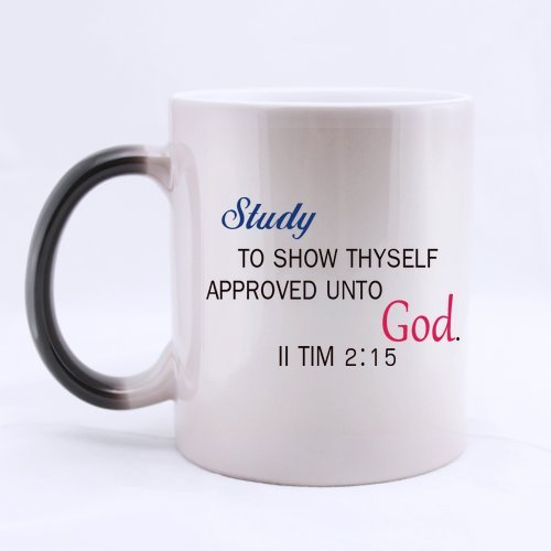 Easter Day Gifts Church Gifts Christian Gifts Bible Quotes Study to Show Thyself Approved unto God.100% Ceramic 11-Ounce Morphing Mug