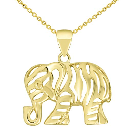Polished 14k Yellow Gold Elegant Elephant Charm Animal Pendant Necklace, 16