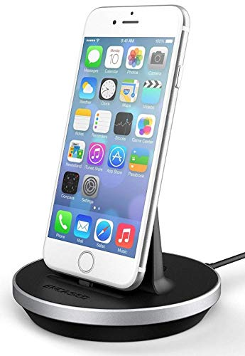 Encased Desktop Lightning Charging Stand, MFI Certified iPhone Charger (Adjustable) Case Friendly Design - Aluminum/Black (Compatible to Apple iPhone 6/ iPhone 6S) (Iphone 6s Plus And 6 Plus Difference)
