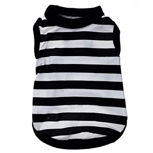 2017 Hot Pet Vest! AMA(TM) Pet Puppy Small Dog Clothes Chihuahua Black and White Stripes Cotton Vest T-Shirt Doggy Shirts Apparel Costume (S, Black)