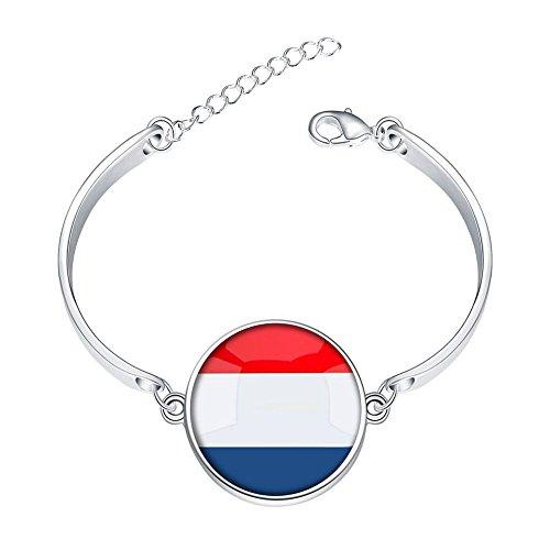 Adjustable Sterling Silver Bracelets The Kingdom of Netherlands National Flag Alloy Bangle Custom Image Glass Cabochon Brace Lace