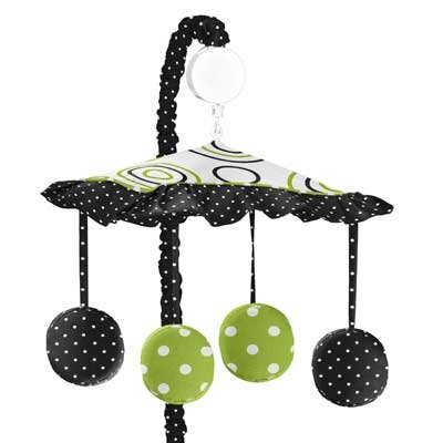 Sweet Jojo Designs Spirodot Lime and Black Musical Baby Crib (Lime Musical Mobile)