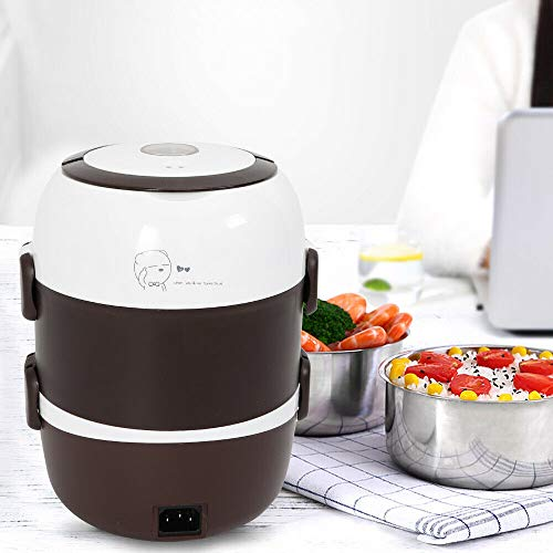Electric Food Steamer Pot Rice Cooker Stainless Steel Portable Lunch Box - 2L,3 Layers