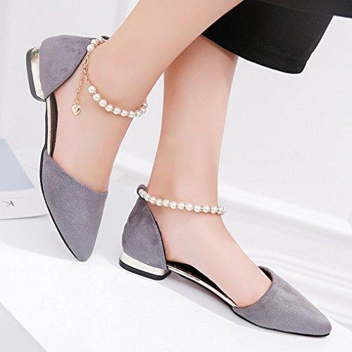 Förderung Grau Casual Mode niedrighackigen Party Schuhe Große Frauen Perlen SANFASHION Sandalen Knöchel Spitz 5ApfwWq6