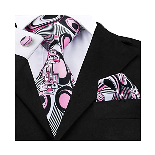 Pink Tie Silk Men Pocket Square Cufflinks Set Novelty Dress Tie Wedding Cool Colorful ()