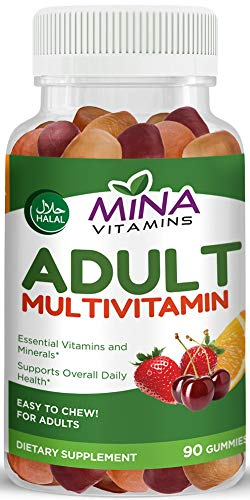 Cheap Halal Gummy Adult Multivitamins by Mina Vitamins – 11 Essential Vitamins and Minerals with Antioxidants – Vegetarian, Non-GMO, Gluten Free (90 Count)