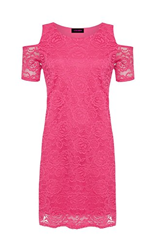 Ladies Shoulder Cut Cerise Floral Lace Short Cold Dress Sleeves Womens Shirt Out Lined Zw6nqtdpX