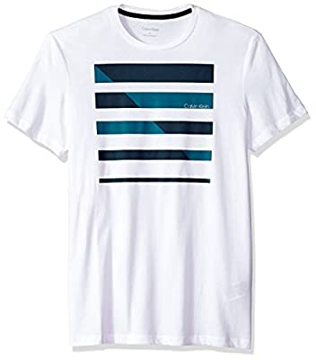 Calvin Klein Men's Short Sleeve T-Shirt with Box Stripe Logo