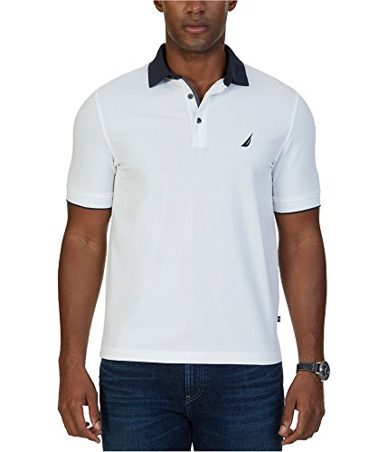 Nautica Men's Classic Fit Solid Stretch Pique Contrast Collar Polo Shirt, Bright White, (Contrast Collar Pique Polo Shirt)