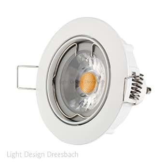 Juego de 6Aluminio Techo Redondo Marco de montaje giratorio 30° en Blanco incl. Foco LED COB de 4W 280Lumen regulable blanco cálido GU10