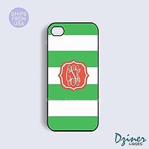 Monogrammed iPhone 6 Case - 4.7 inch model - Green White Stripes Orange Braket iPhone Cover