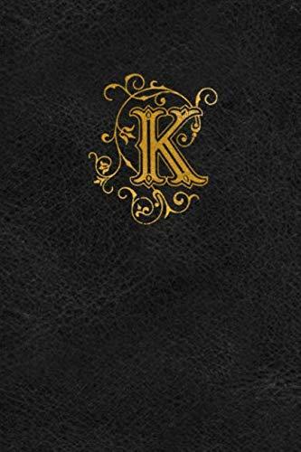 Golden Monogram - Old English Monogram Journal - Letter K: Elegant Golden Flourish Capital Letter on Black Leather Look Background