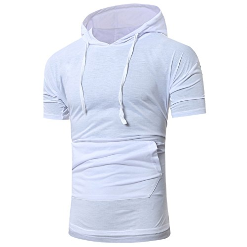 irt, Men's Summer Fashion Hooded Pullover Short Sleeve Blouse Camis Tanks White ()