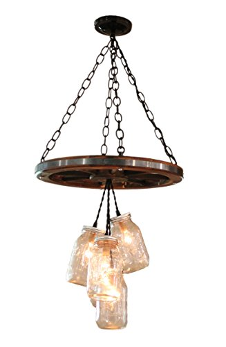 Wagon Wheel Mason Jar Chandelier, used for sale  Delivered anywhere in USA