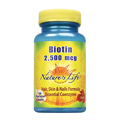 100 Vegetable Mcg Capsules (Nature's Life Biotin 2500mcg | Healthy Hair, Skin, Nail & Metabolism Support | Non-GMO | 100 Vegetable Capsules)
