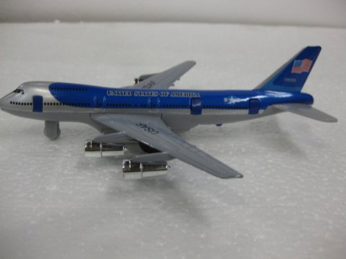 United States Of America Diecast USAF 747 Plane 7.5 Inches Long With A 6.5 Inch Wing Span In Blue & Gray Comes With Pull back Action & Opening Doors from diecast plane