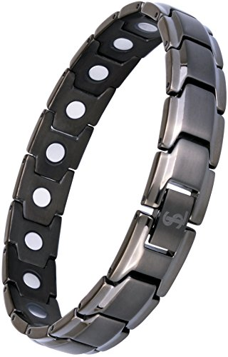 Magnetic Therapy Neck - Elegant Titanium Magnetic Therapy Bracelet Pain Relief for Arthritis and Carpal Tunnel (Gunmetal Gray)