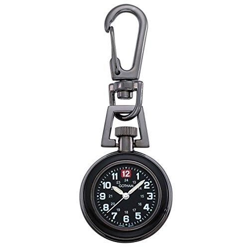 Gotham Unisex Gun Metal Analog Quartz Keychain Clip Fob Watch # GWC18107-2BBK - Mini Watch Keychain