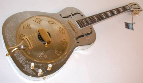 Dean Resonator Chrome/Gold Thin Body Electric (Body Resonator Guitar)