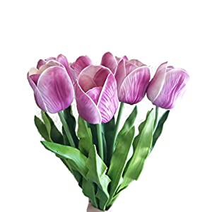 FRP Flowers Real Touch Latex Large 26 inch Tulips for Bouquets, vase Arrangements, Home/Office Decor (Pack of 5) 98