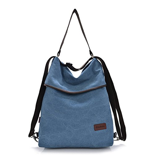 Shoulder Blue Shopping Vintage Canvas Gindoly Shopping Women multifunction Hobo for Travel Bag Handbag Bags School Ladies Top Beach Handle Crossbody bags Bag qEBn1wF