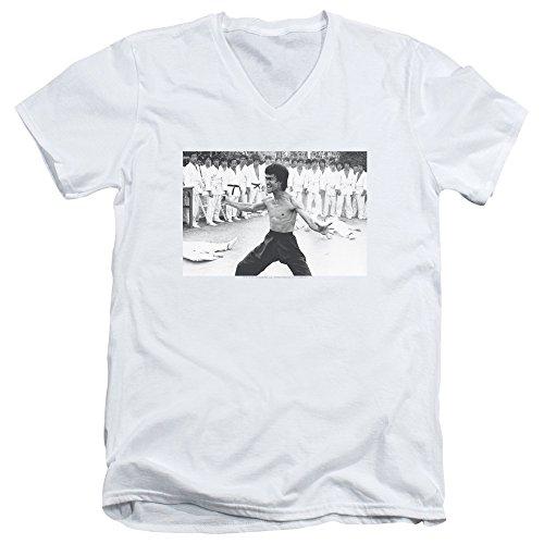 Bruce Lee Triumphant Unisex Adult V-Neck T Shirt for Men and Women, Large White
