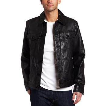 Levi's Men's Leather Classic Trucker Jacket, Black, X
