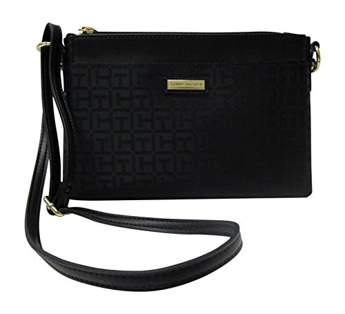 Signature Tommy Tonal Womens' and Crossbody Fabric One Black in Pouch Hilfiger 2 Bag rZxfZwY7q