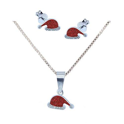 SL de Silver Set Cadena Colgante Pendientes Gorro de Papá Noel 925plata de ley en caja de regalo