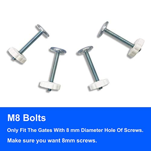 Sungrace 4 Pack Pressure Mounted Baby Gates M8 Spindle Accessory Screw Mounted Bolts Kit