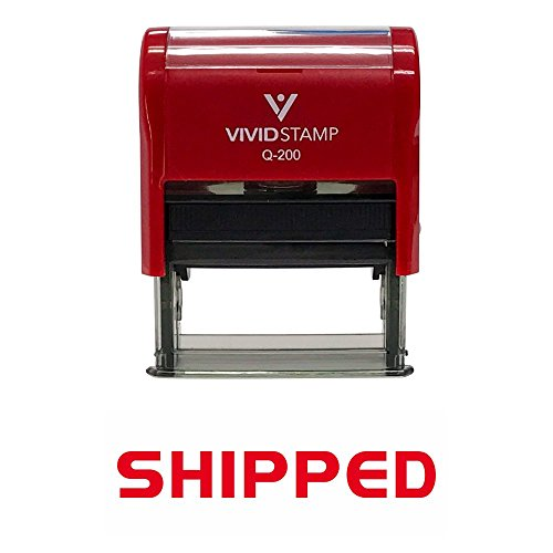 SHIPPED Self Inking Rubber Stamp (Red Ink) - Medium