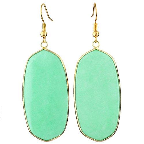 SUNYIK Women's Light Green Howlite Turquoise Oval Dangle Earrings Gold Plated