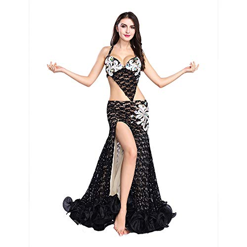 Black Mermaid Costumes For Women (ROYAL SMEELA Professional Belly Dance Costume Set for Women Black Lace Belly Dancing Skirts and Bra Fishtail Ruffle Mermaid Hip Skirt, Small Size)