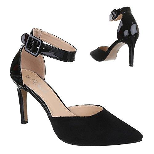 Ital-Design High Heel Pumps Damenschuhe High Heel Pumps Pfennig-/Stilettoabsatz High Heels Klettverschluss Pumps Schwarz WD73
