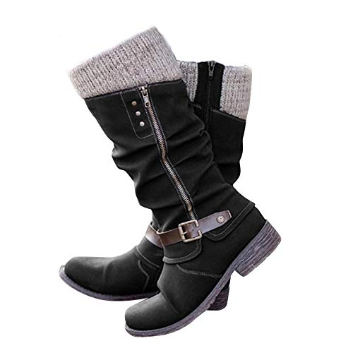 Women's Mid Calf Boots Sweater Knit Side Zip Long Tube Knight Boots Waterproof Fall Warm Buckle Combat Style Western Shoes (Black, - Boots Slouch