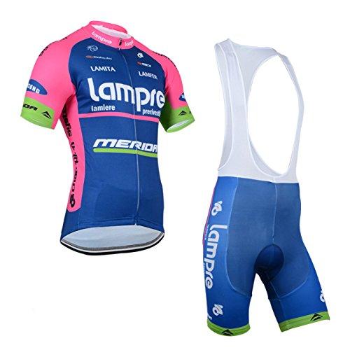 2014 Outdoor Sports Pro Team Men's Short Sleeve Lampre Cycling Jersey and Bib Shorts Set (Hincapie Mens Cycling Bib Shorts)