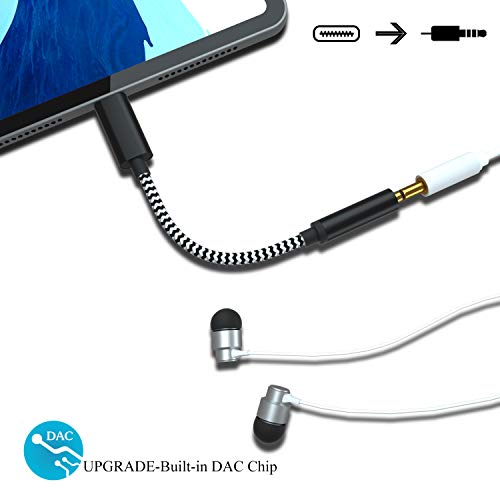 Price comparison product image Dreamvasion USB-C to 3.5mm Adapter Compatible with iPad Pro,  Nylon Braided Type C to 3.5mm Headphone Aux Cable with DAC Chip / Hi-Res Compatible for iPad Pro 2018 / Pixel 3 2 XL / HTC / OnePlus 6T / Huawei / Mac