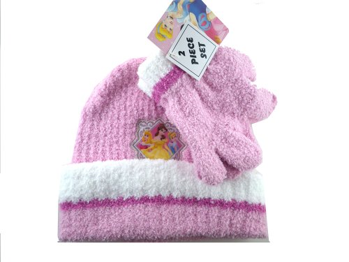 Pink 2 Piece Disney Princess Beanie and Gloves Set - Princess Winter Fashion