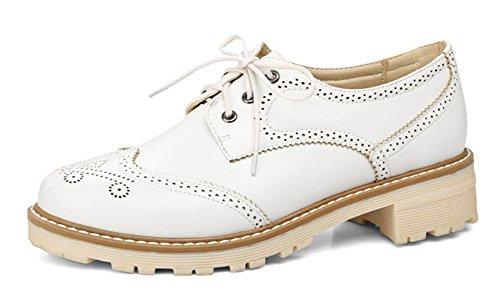 Aisun Kvinna Vintage Komfort Snörning Dressat Rund Tå Chunky Låg Häl Barock Oxfords Skor Vita