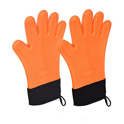 Extreme Heat Resistant Protection, Silicone Oven Gloves Outdoor Barbecue Grill Gloves Oven Mitt Kitchen Tools Solid Thick and Durable