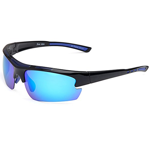 Siren Polarized Sports Sunglasses with TR90 Unbreakable Frame and Case - Mirror Blue Lens on Black Blue - Unbreakable Sunglasses